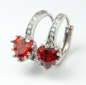 Women's White Gold plated Red Heart Crystal Earrings