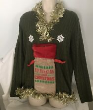 Ugly Christmas Sweater Naughty No Peeking Until Christmas Wine Holder Green SZ L