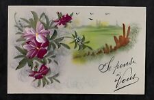 C1916 French plastic card - flowers/ birds flying