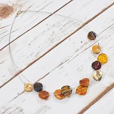 Natural Baltic Amber Necklace Collar Choker Matt Raw Pure Stones Handmade Adult