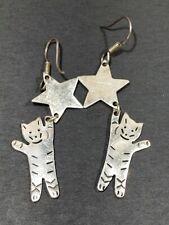 Vtg Sterling Earrings Taxco Mexico Star and Cat Dangle Earrings 10.1g