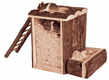 Wooden Play & Burrow Tower with 2 Entrances Ladder & Acrylic Glass Mice Gerbils