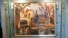 Tableau Ancien paysage huile sur toile couleurs sonptueuses