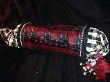 Mackenzie Child VINTAGE Courtly Check Tartan Velvet Bolster Designer Pillow HUGE