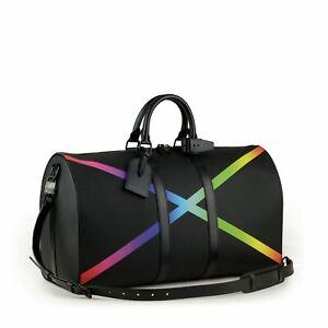 LOUIS VUITTON Virgil Abloh Black Taiga Rainbow X Keepall Bandouliere 50 Bag