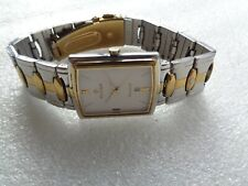 MENS STEEL & GOLD INDIA TITAN REGALIA WHITE DIAL DATE@6 QUARTZ WRISTWATCH