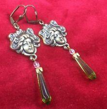 Peridot Medusa Brass Pierced Drop Art Nouveau Inspired Earrings Victorian Glass