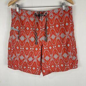 Patagonia Mens Board Shorts 32 Orange Geometric Drawstring Zip Pocket