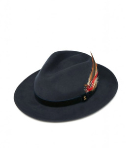 Ladies JOULES Fedora 100% wool Hat - French Navy - feather detail - BNWT - Small