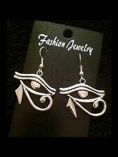 Large Eye Of Horus Earrings Rah Protection Egyptian Charm Symbol Silver *UK*