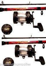 2 x Shakespeare Firebird Boat Fishing Rods Multiplier Boat Reel Sea Fishing Line