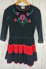 Hanna Andersson 140 Dress Girls 10 Black Red Embroidered Ruffle Tulle Twirl