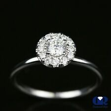 Natural 0.55 Ct Round Cut Diamond Halo Engagement Ring In 14K White Gold