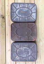 Set of 3 Large Vintage Embossed Rectangular Lidded Storage Tins