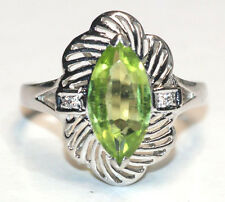 Peridot Diamond Ring Dress Filagree Design Bright Green 14ct White Gold.