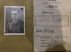 Personalausweis Soldbuch Heer WW2 2.WK Stempel Eintragungen Orden Original