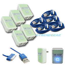 5X 4 USB PORT WALL ADAPTER+10FT CABLE POWER CHARGER BLUE FOR IPHONE 4S IPOD IPAD