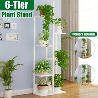 Wooden 6 Tier Plant Stand Flower Rack Pot Shelf Bonsai Holder Home Garden Corner