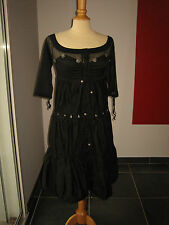 ELEGANTE ROBE DRESS NOIRE + PETITS BIJOUX METAL SAVE THE QUEEN T S 34 36 UK 6 8