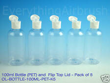 100ml Bottles With Flip Cap Lid (5 Pack) - Ideal For Airbrush Paint Storage