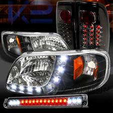 97-03 F150 Black SMD DRL Headlights+Smoke LED Tail Lamps+LED 3rd Brake