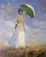 Hand Painted Oil Painting Repro Claude Monet Woman with Sunshade 20x24in