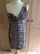 STUNNING LAUNDRY BY SHELLI SEGAL ONE SHOULDER FITTED DRESS UK SIZE 8 NWOT