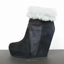RICK OWENS $1,790 shearling fur high wedge heel pull on leather boots 36/6 NEW