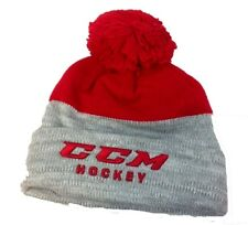 CCM HOCKEY SENIOR/ADULT GRAY/RED KNIT POM STOCKING CAP/HAT OSFM