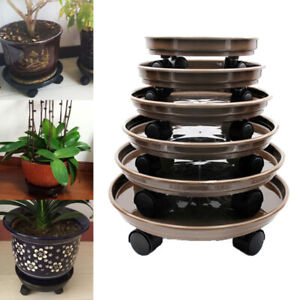 Plastic Garden Base Flower Pot With Wheel Round Thick Tray Plant For Indoor