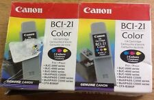 Lot 2 Canon BCI-21 Color Ink For Canmon Bubblejet BJC4000 BJC4100 3500