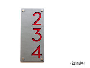 Modern House Numbers, Concrete with Red Acrylic - Vertical - Sing Plaque