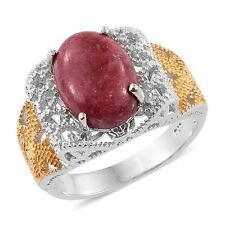 DESIGNER NORWEGIAN GENUINE THULITE CABOCHON OVAL 7CT SOLITAIRE GEM RING SIZE 7