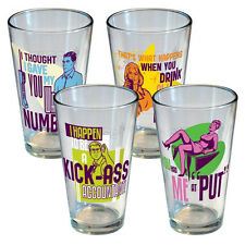 Archer TV Series Statement/Quote 16 oz. Pint Glass Set of Four, NEW UNUSED