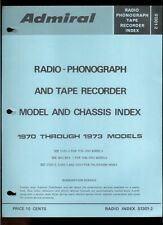 1970-73 Admiral Radio Phonograph Tape Recorder Chassis Model Rare Index Manual