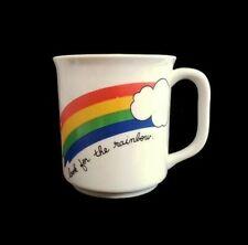 "Vintage Rainbow Coffee Mug White Cloud Ceramic 3.5"""