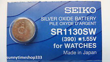 Sr1130sw/390 Seiko Watch Battery Made in Japan Silver Oxide 1.55v