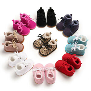 Baby Newborn Boy Girl Shoes Winter Warm Lining Non-Slip Lace Up Prewalker Boots