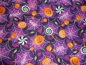 1 YARD Halloween Candy Pumpkin Purple Sewing Crafts Quilting Cotton Fabric