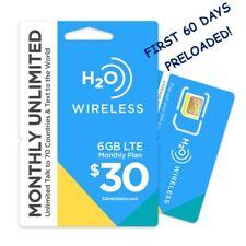 H2O $30 Plan 60 Days Preloaded Triple Cut Sim Unlimited Data, Talk & Text 6Gb 4G