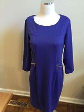 NWT Liz Claiborne Royal Sapphire Blue Ponte Sheath Dress Stretch 6