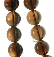 18MM  SMOKY QUARTZ GEMSTONE GRADE AA ROUND LOOSE BEADS 7.5""