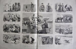 1880 ANTIQUE PRINT - HORSE RACING- DERBY DAY, NOTES ON EPSOM DOWNS