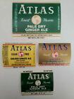 Vintage 4 Atlas Bottling Golden/Pale Ginger Ale Labels Detroit Michigan New Rare