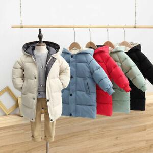 Kids Girls Boys Winter Long Padded Down Coats Jacket Hooded Parka Warm Outerwear