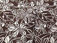 coupon de tissu pur coton fleuri blanc fond marron   3.m  ; Ref  p