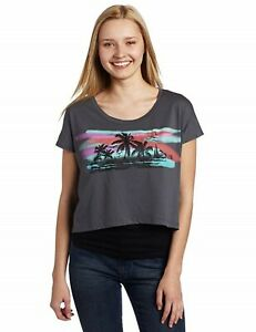 Hobie Top Sz S Slate Gray Multi Midriff Graphic Tee Shirt Short Swim Cover Up