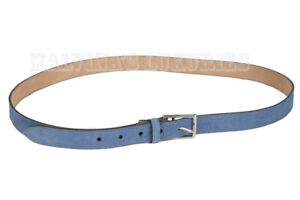 GUCCI BELT 368193 MENS BLUE SUEDE LEATHER SQUARE BUCKLE $395 NEW AUTH 110 / 44