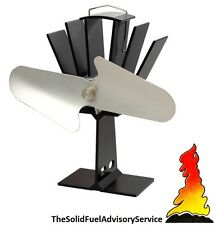 Calore Powered STUFA VENTILATORE legno Log Bruciatore Top Eco Friendly-Nero e Argento Nichel