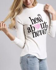 Wildfox Couture How About Never Girlfriend Crewneck Thermal Shirt Pearl White, S